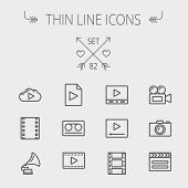 stock photo of strip  - Multimedia thin line icon set for web and mobile - JPG