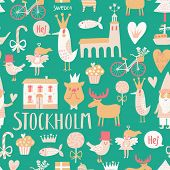 picture of gnome  - Stylish Stockholm concept seamless pattern in vector - JPG
