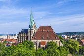 foto of dom  - Dom hill of Erfurt Germany in afternoon light - JPG