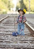 pic of hobo  - Adorable toddler on the railroad tracks dressed as a little hobo - JPG