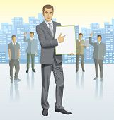 stock photo of city silhouette  - Vector business man with silhouettes of business people - JPG