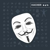 stock photo of anonymous  - white mask anonymous  with dark background and icons - JPG