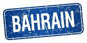 stock photo of bahrain  - Bahrain blue stamp isolated on white background - JPG