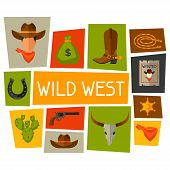 foto of wild west  - Wild west background with cowboy objects and design elements - JPG