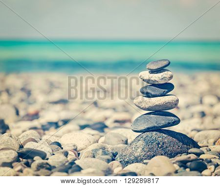 Zen meditation background - vintage retro effect filtered hipster style image of balanced stones sta
