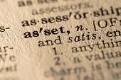 pic of pronunciation  - close-up of the word asset in a dictionary. **Note, slight blurriness, best at small sizes.