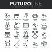 Sports Activity Futuro Line Icons Set poster