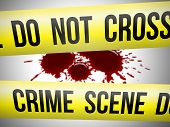 picture of serial killer  - Crime scene do not cross yellow ribbon with blood - JPG