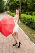 Young Girl With Umbrella In Park