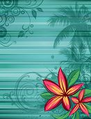 stock photo of hawaiian flower  - Tropical floral background with frangipani flowers - JPG