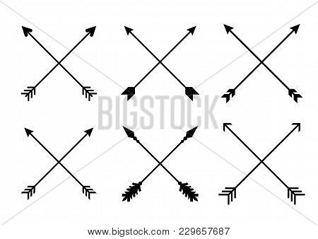 poster of Criss Cross Hipster Arrows. Arrows In Boho Style. Tribal Arrows. Set Of Indian Style Arrows. Vector