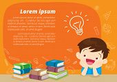 Children Boy Thinking Idea And Books.cute Kid Imagine In Classroom With Space For Your Text.educatio poster