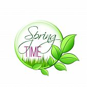 Spring Time Green Leaf Icon For Springtime Wishes Or Seasonal Holiday Greetings. Vector Isolated Gre poster