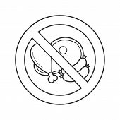 Forbidden Sign With Meat Products Linear Icon. Thin Line Illustration. Sausage, Ham, Chicken Leg In  poster