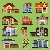 City Town House Vector Facade Face Side Street View City Modern World House Building Cartoon Archite poster