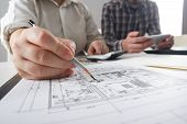 Architects Working On Blueprint. Architects Workplace - Architectural Project, Blueprints, Ruler, Ca poster