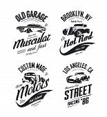 Vintage Roadster, Custom Hot Rod And Muscle Car Vector Tee-shirt Logo Isolated Set. Premium Quality  poster