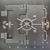 stock photo of bank vault  - Safe in stainless steel - JPG