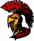 stock photo of spartan  - Graphic Trojan or Spartan Vector Mascot with Headdress - JPG