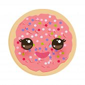 Kawaii Frosted Sugar Cookies, Italian Freshly Baked Biscuit With Pink Frosting And Colorful Sprinkle poster