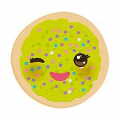 Kawaii Frosted Sugar Cookies, Italian Freshly Baked Biscuit With Green Frosting And Colorful Sprinkl poster