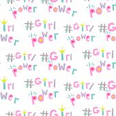 Girl Power Hashtags Seamless Vector Pattern. Feminist Symbol Word. poster