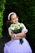 Little Girl In White Dress With Rose Flower Bouquet. Bride Girl, Bridesmaid And Wedding Ceremony. Fa poster