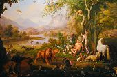 "stock photo of adam eve  - ""Adam and Eve in the Earth paradise"" by Wenzel Peter XIX century. Held in Vatican museums.