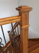 Hardwood Newel Post Staircase Classic Style Interior Steps Stairway Design poster