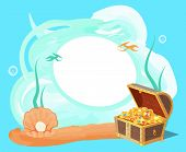 Sea And Treasures Poster, Banner With Plants, Water And Wooden Chest, Full Of Treasures, Shell And P poster