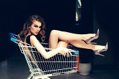 Shopper, Shopaholic, Shopping, Shop. Sensual Woman Sit In Shopping Cart. Girl In Fashionable Dress,  poster