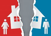 Division Of Property At Divorce. A Divorced Couple And Ripped Paper With The Symbol Of The House. Ve poster