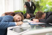 In Selective Focus Of Business People Sleeping In The Conference Room During A Meeting. poster