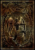 Zodiac Sign Archer Or Sagittarius On Black Texture Background. Hand Drawn Fantasy Graphic Illustrati poster