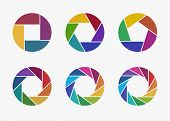 Set Of Colorful Camera Lens Aperture Icons Isolated On Light Background. Camera Objective Icon. Shut poster
