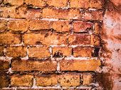Old Brick Wall With Plaster. Shabby Surface Of Ancient Masonry. poster
