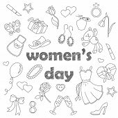 Set Contour Cartoon Of Icons On A Theme Day In Honor Of Women, Simple Contour Icons, Dark Contours O poster