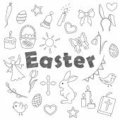 Set Contour Cartoon Of Icons On A Theme The Holiday Of Easter Was Simple Contour Icons, Dark Contour poster