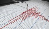 Seismograph For Earthquake Detection Or Lie Detector Is Drawing Chart. 3d Rendered Illustration. poster