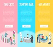 Support And Information Desk Isometric Vertical Flyers. Company Exhibition Ad Stand, Product Or Serv poster