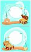 Creative Photo Frames With Treasure In Sea Set. Chests With Mermaid Treasures And Big Pearl In Shell poster