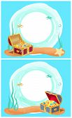 Photo Frame With Mysterious Sea Treasures In Wooden Chest. Seascape That Has Precious Treasure At Bo poster