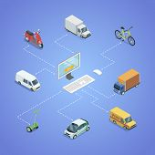 City Transport Logistics Isometric Infographics. Freight Truck, Delivery Van, Bicycle, Scooter, Smal poster