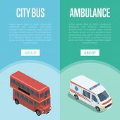 City Transport Isometric Vertical Flyers With Red Double Decker Bus And Ambulance Car. Modern Urban  poster