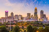 Charlotte, North Carolina, USA uptown skyline at dusk. poster