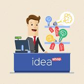 Businessman Selling His Ideas In Market, Ideas Store. Business Idea Concept. Vector Illustration Fla poster