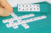 stock photo of workplace accident  - Health and safety concept with letters and related keywords - JPG