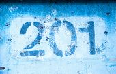 The Number 2 0 1 On The Blue Wall, Two Hundred And One. poster