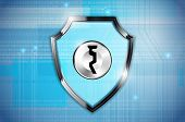 Abstract Shield With Keyhole And Computer Background - Computer Security Concept. Vector Illustratio poster