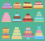 Wedding Flat Cake Pie Vector Sweets Dessert Bakery Flat Simple Style Illustration Fresh Tasty Desser poster